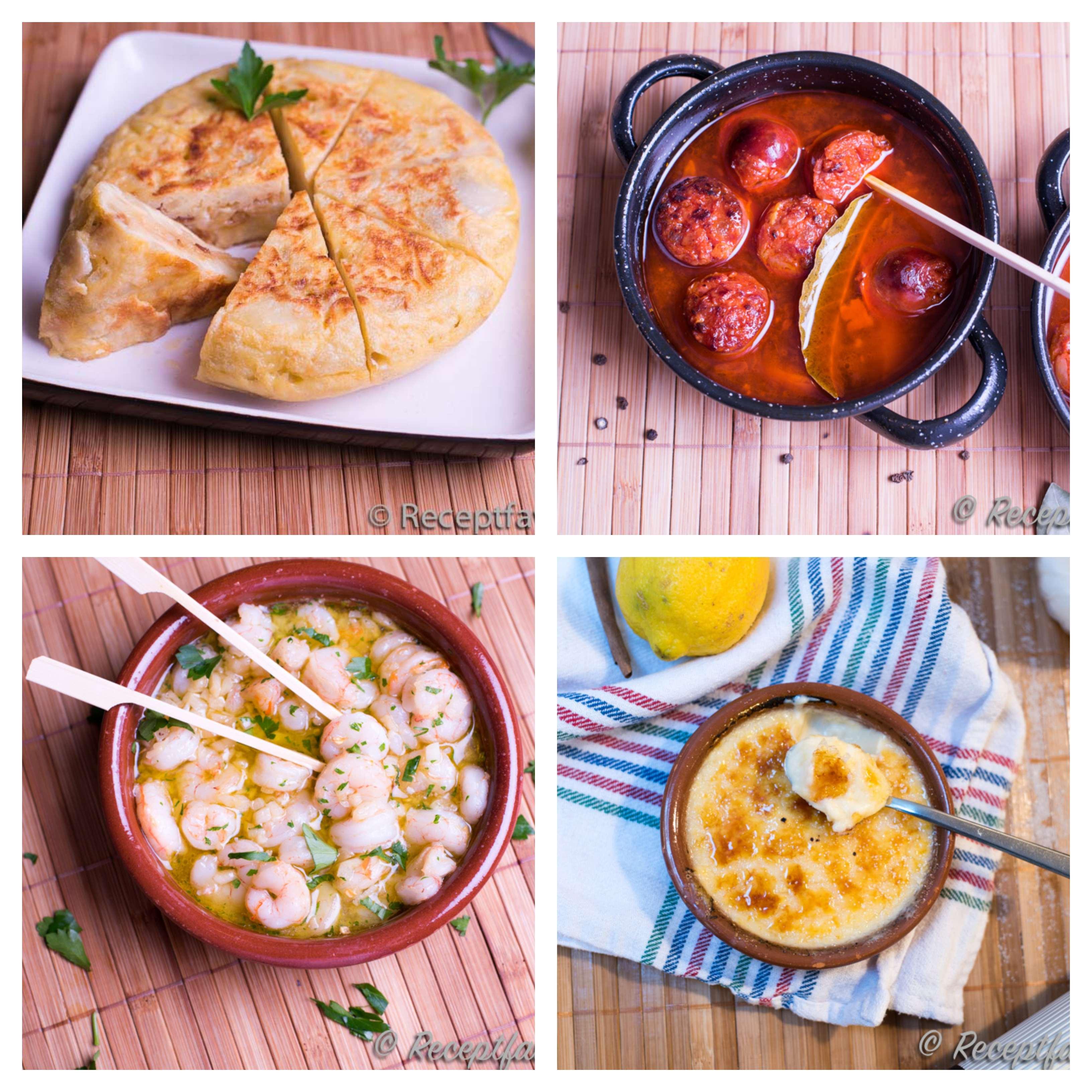 Tapas med tortilla de patatas - potatisomelett, gambas al ajillo - vitlöksräkor, chorizo al cidra - råkorv chorizo i cider samt crema catalana.