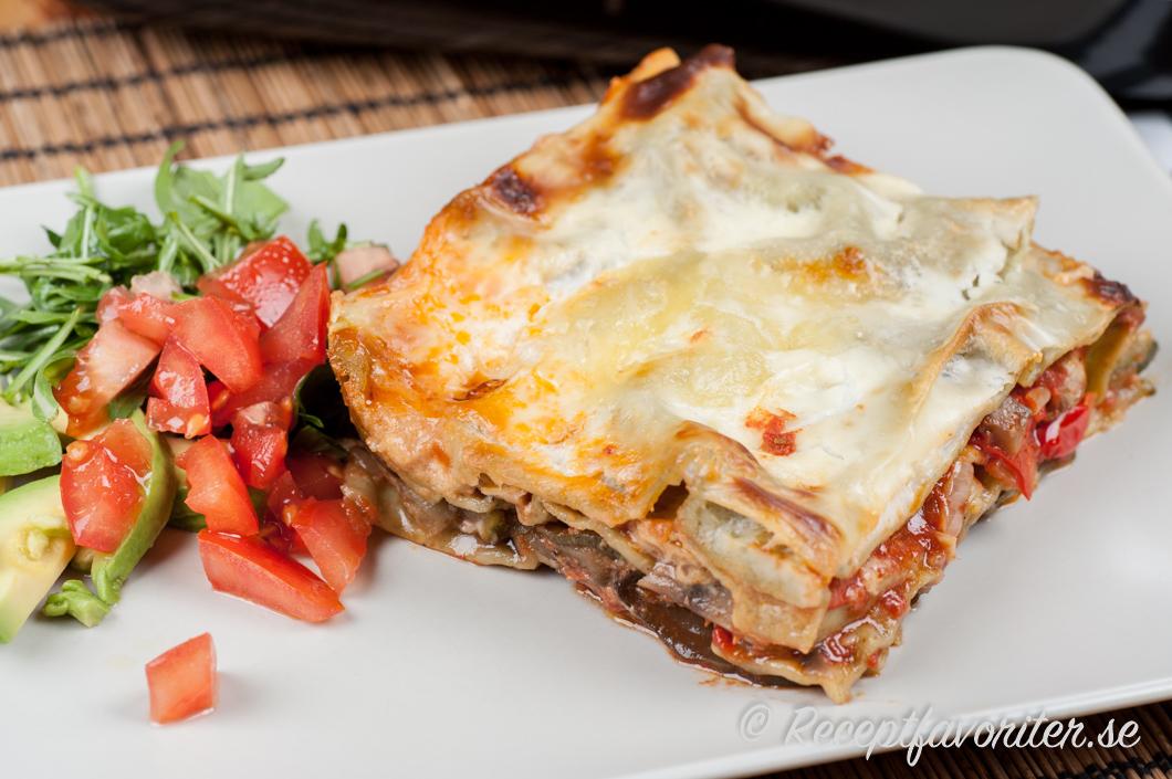 vegetarisk lasagne aubergine zucchini