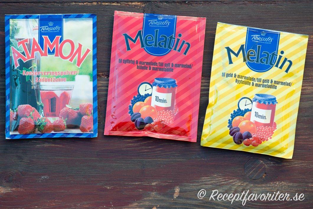 Törsleffs Atamon konserveringsmedel och röd Melatin pektin och konserveringsmedel samt gul Melatin som är pektin.