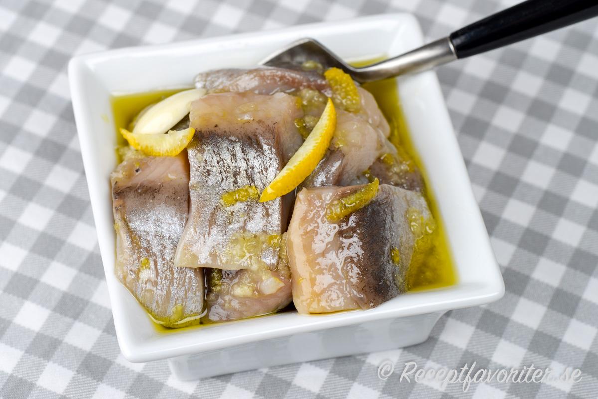 Sill inlagd med citron och vitlök i en klar lag i skål