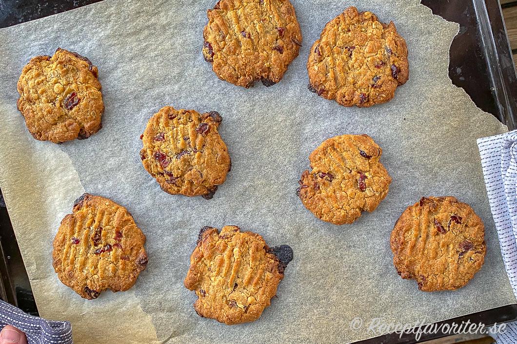 Nybakta cookies med vit choklad och tranbär på bakplåt.