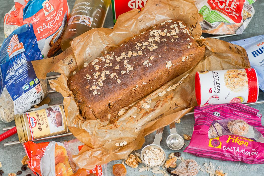 Filmjölksbröd med maxade nyttigheter som filmjölk, rågkross, torkad frukt, torkade bär, nötter, frön med mera.