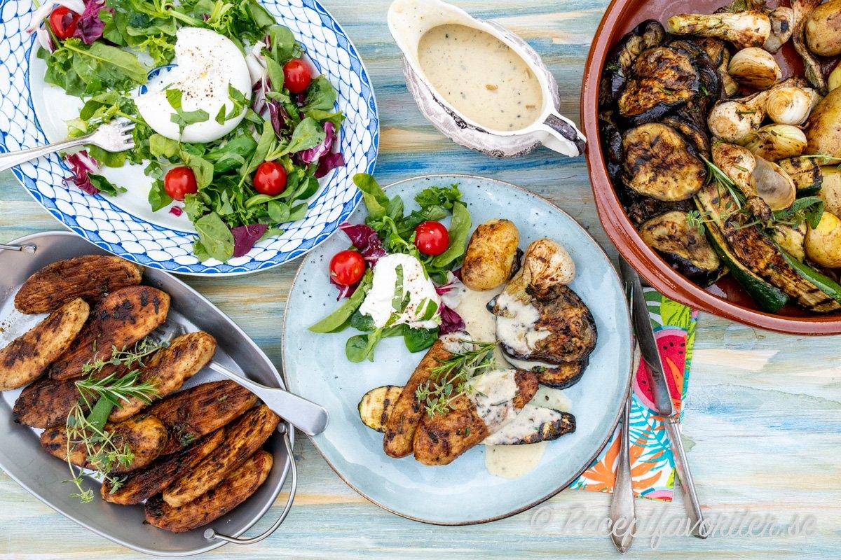 Grillad quornfilé serverad med tillbehör