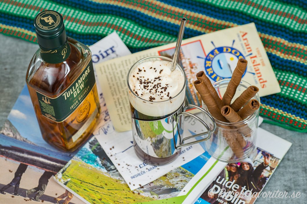 Irish coffee gjord med irländsk orökt whiskey