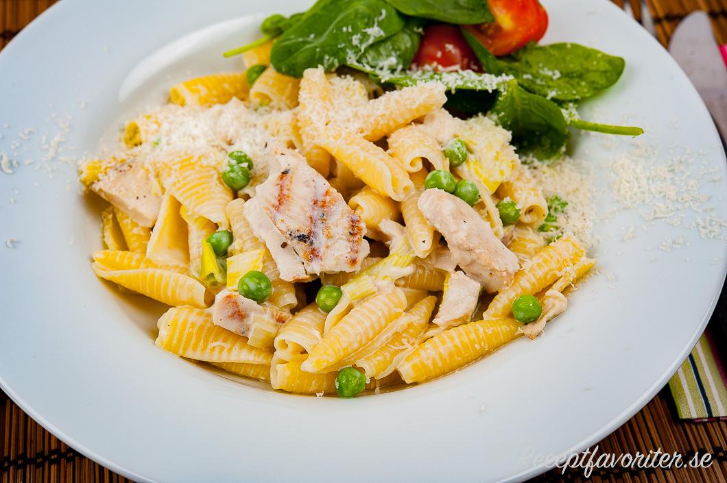 Kycklingfilé med pasta i krämig sås