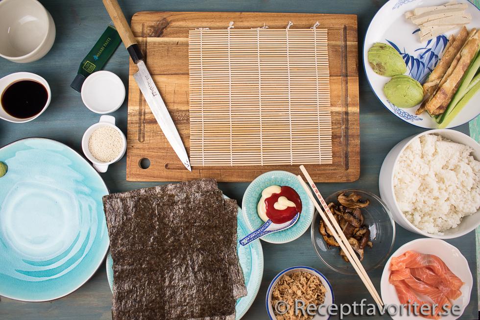 Förslag på ingredienser till sushimyset