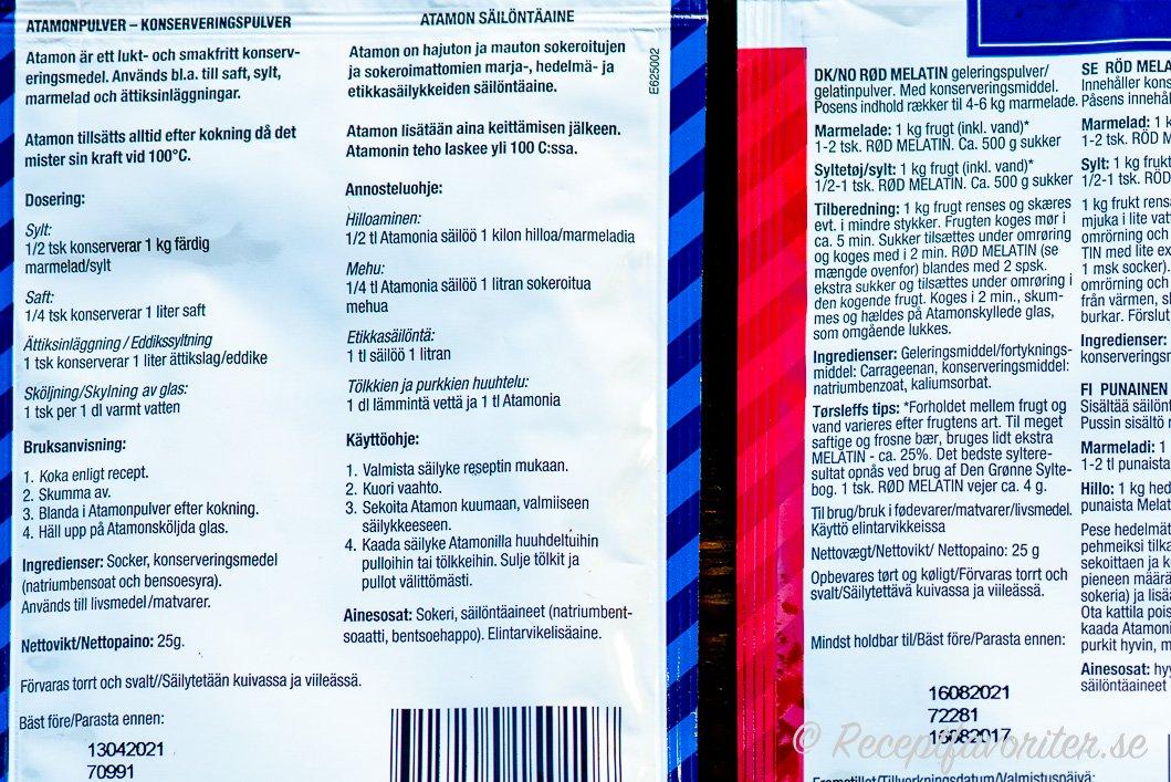 Anvisningar för blå Melatin konserveringspulver.
