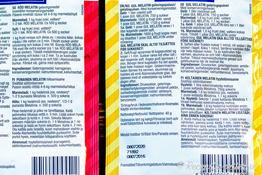 Baksidan på röd och gul Melatin med anvisningar.
