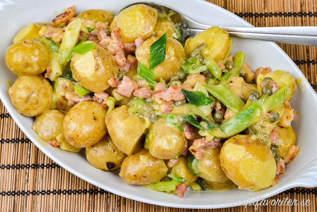En smakrik potatissallad på fat