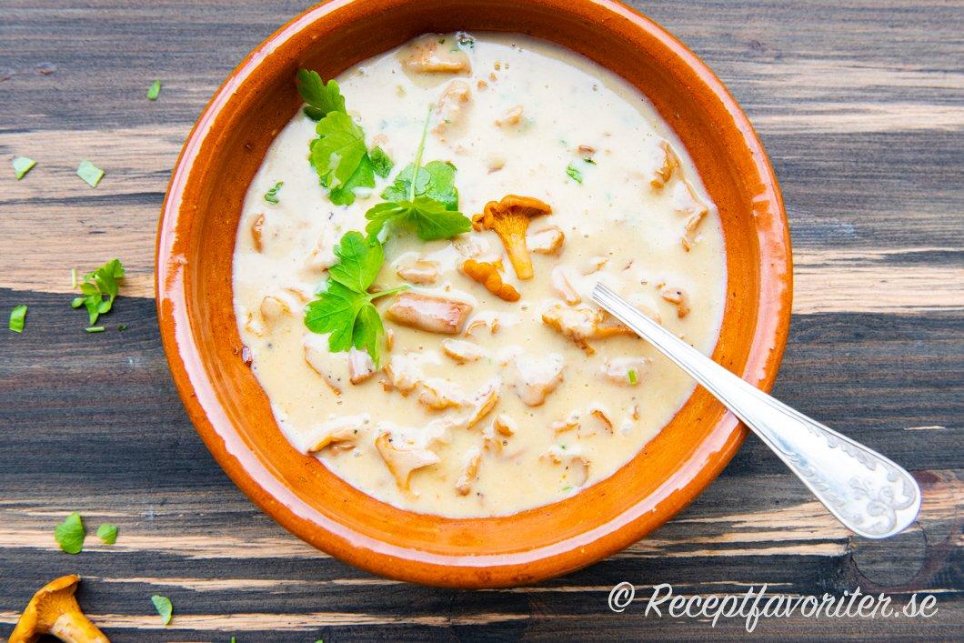En god svampsås med gula kantareller serverad i skål med bladpersilja