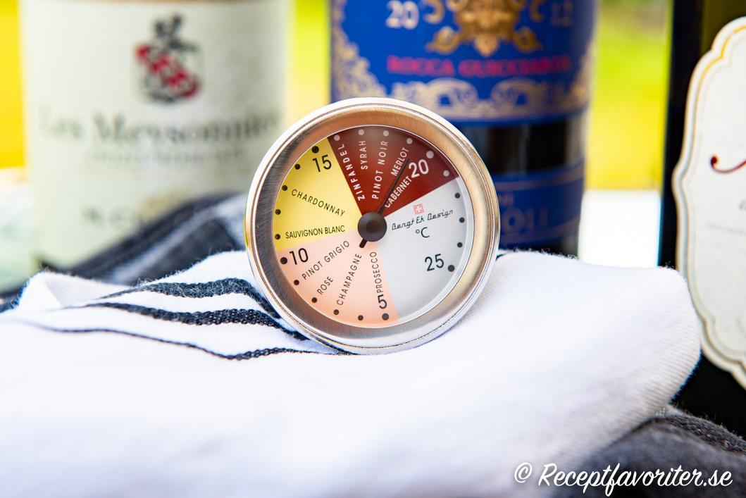 Vintermometer för mousserande vin, vitt vin och rött vin.