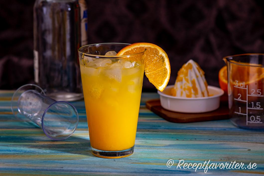 Screwdriver med färskpressad apelsinjuice och is i glas